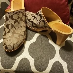Coach Signature Wooden Clogs